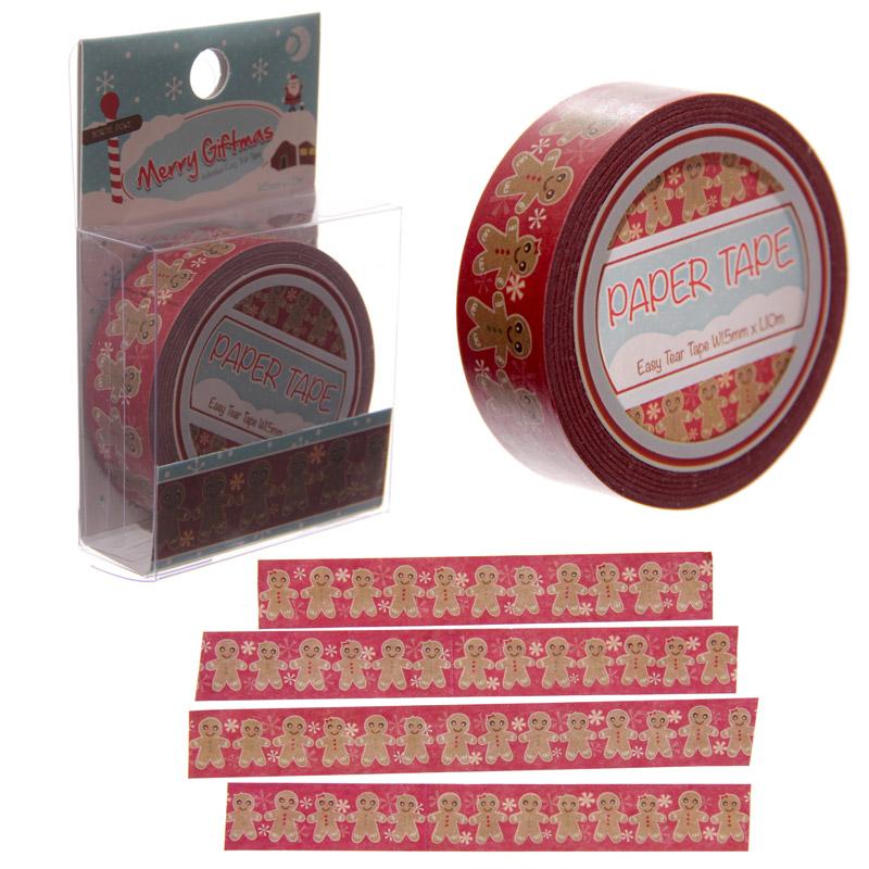 10 Metre Paper Self Adhesive Gift Tape - Christmas Gingerbread