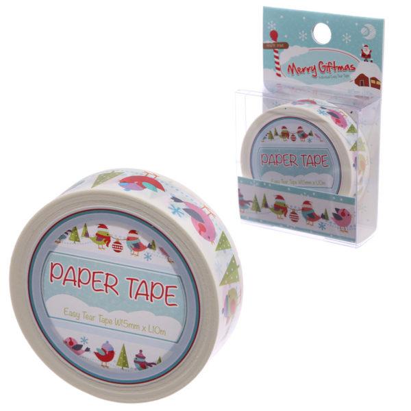 10 Metre Paper Self Adhesive Gift Tape – Christmas Robins