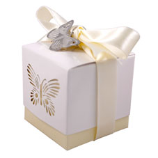 5 x Ivory Laser Cut Butterfly Favour Box