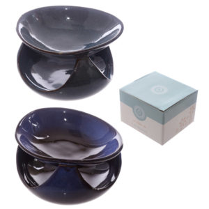 Abstract Design Squat Mottled Glaze Ceramic Oil Burner
