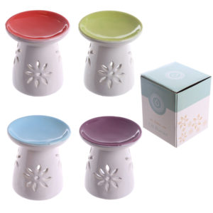 Bright Coloured Small Flower Pattern Ceramic Oil Burner