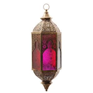Bronze Effect Embossed Glass Moroccan Style Fretwork Lantern