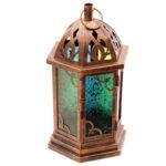 Bronze Effect Embossed Glass Moroccan Style Metal Lantern