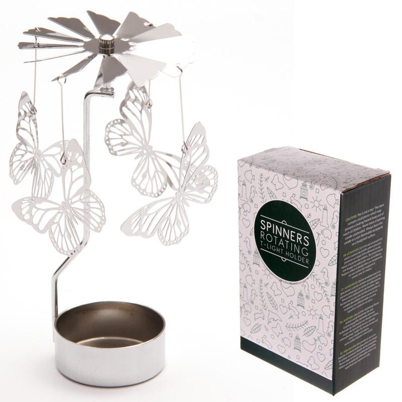 Butterfly Design Metal Tealight Spinner