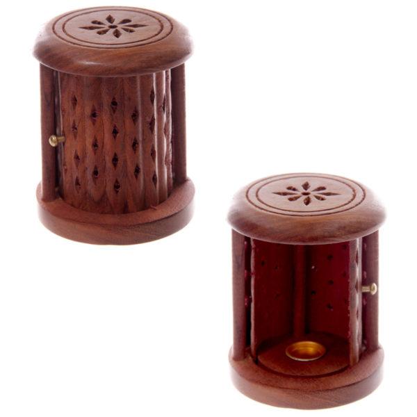 Carved Sheesham Wood Incense Holder with Sliding Door