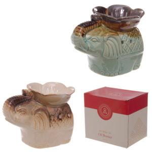 Ceramic Two Tone Glaze Elephant and Flower Oil Burner