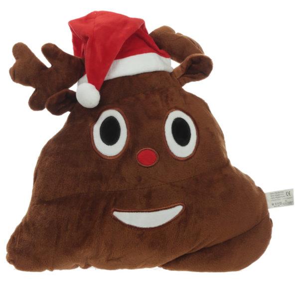 Christmas Hat Poop Reindeer Emotive Cushion