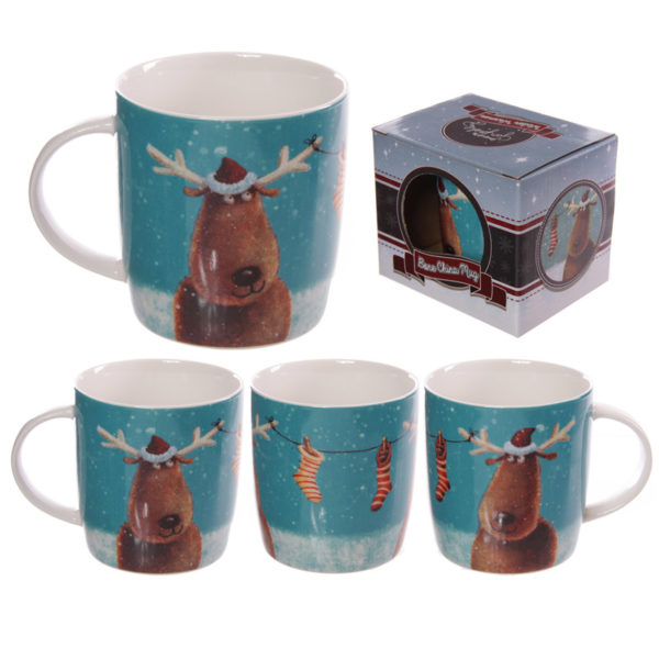 Christmas New Bone China Mug – Jan Pashley Reindeers Design