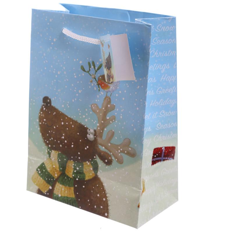 Christmas Reindeer Design Medium Glossy Gift Bag