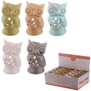 Cute Ceramic Crackle Glazed Mini Owl Design Oil Burner