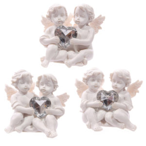 Cute Cherub Couple Holding Silver Gem Heart