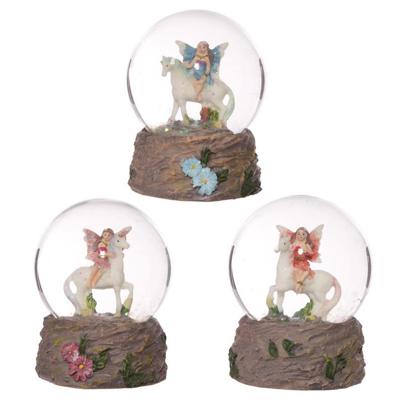Cute Flower Fairy Riding Unicorn Waterball Snow Globe