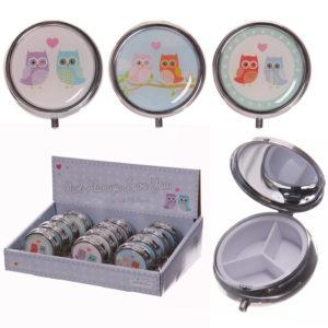 Cute Love Owls Design Round Metal Pill Box