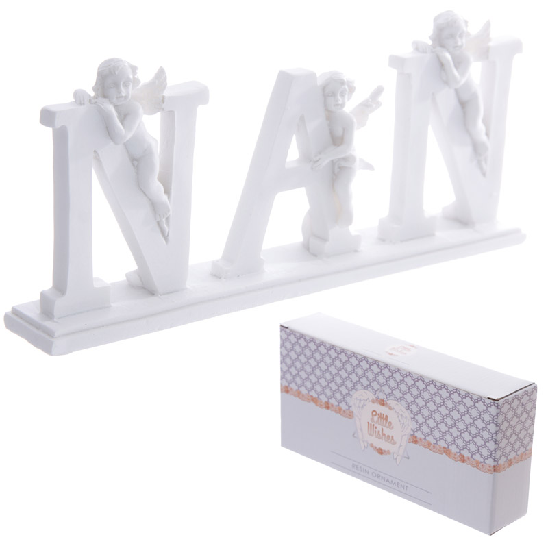 Cute NAN Letter Cherub Ornament on Base