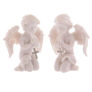 Cute Praying Cherub Figurine Holding Jewelled Silver Cross