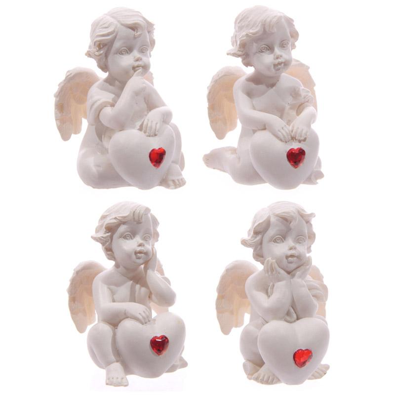 Cute Seated Love Cherub with Red Heart Gem