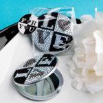 Sparkling Rhinestone Love Design Mirror CompactsSparkling Rhinestone Love Design Mirror Compacts