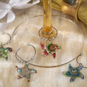 Murano Art Deco Collection Starfish Wine CharmsMurano Art Deco Collection Starfish Wine Charms