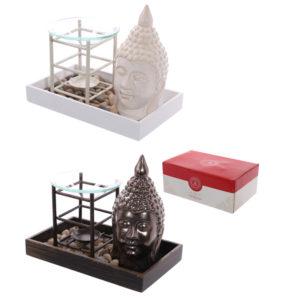 Decorative Buddha Ceramic Ornament and Oil Burner Pebble Tray