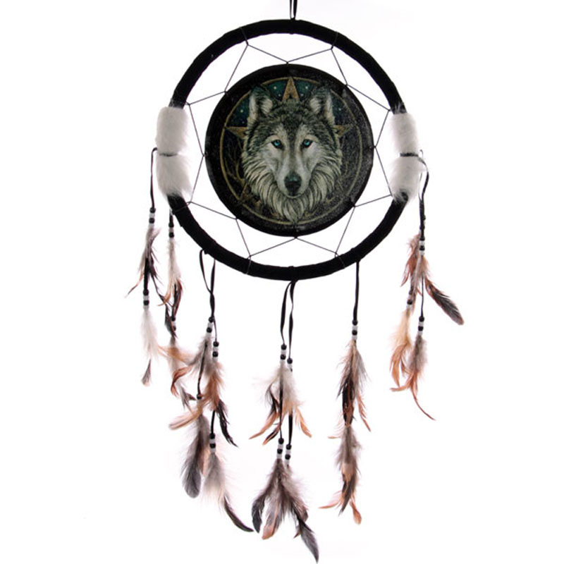Decorative Celtic Wolf Head 34cm Dreamcatcher