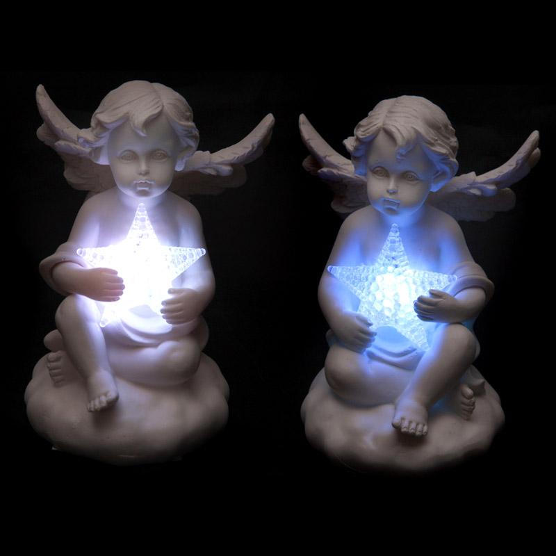 Decorative Cherub Figurine Holding LED Star