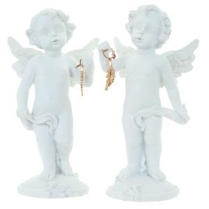 Decorative Collectable Cherub Figurine - Gold Feather