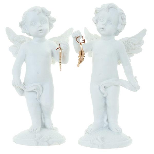Decorative Collectable Cherub Figurine – Gold Feather