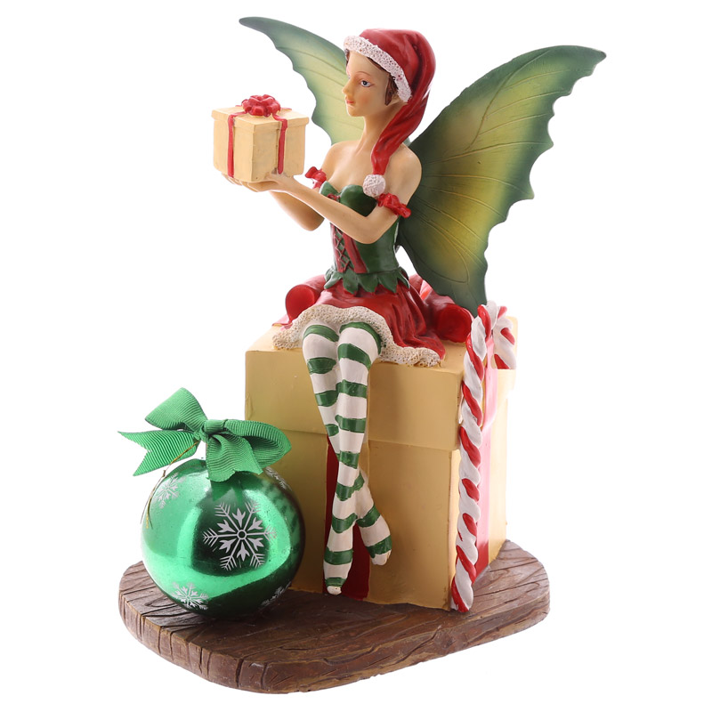 Decorative Fairy with Present and Bauble Christmas Figurine