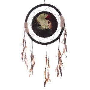 Decorative Fantasy Wolf and Women Dreamcatcher Medium