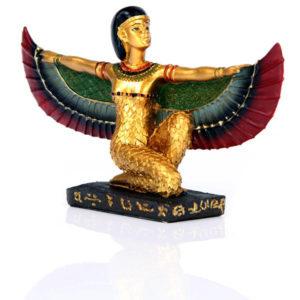 Decorative Gold Egyptian Winged Isis Figurine Kneeling