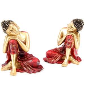 Decorative Gold and Red Thai Buddha Figurine