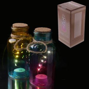 Decorative LED Light Jar - Coloured with Cork Top