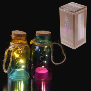 Decorative LED Light Jar - Small Coloured with Cork Top
