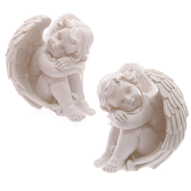 Decorative Seated 17cm Cherub Ornament Resting Head on Knees