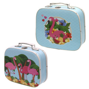 Decorative Set of 2 Flamingo Design Craft Cases