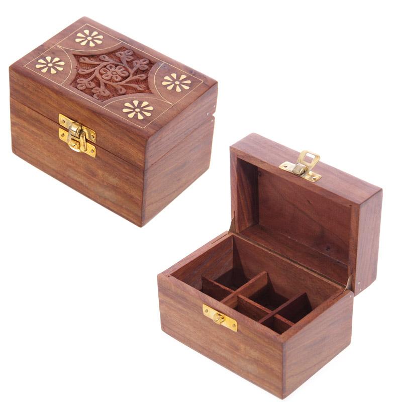 Decorative Sheesham Wood Floral Compartment Box Small
