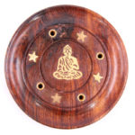 Decorative Sheesham Wood Round Buddha Ashcatcher