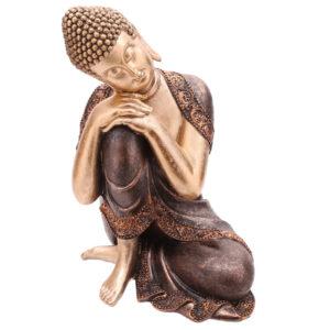 Decorative Thai Buddha Figurine Head Resting on Knee