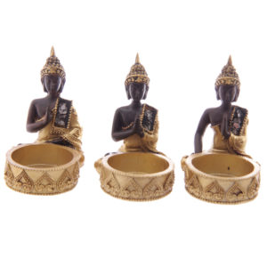 Decorative Thai Buddha Gold and Brown Tealight Holder