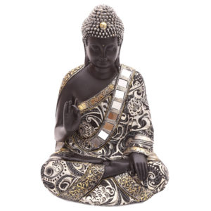 Decorative Thai Buddha Metallic Figurine with Hand Up