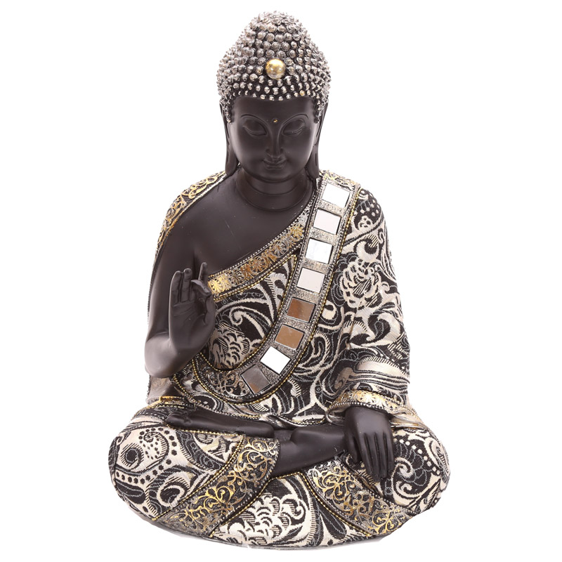 Decorative Thai Buddha Metallic Figurine with Hand Up
