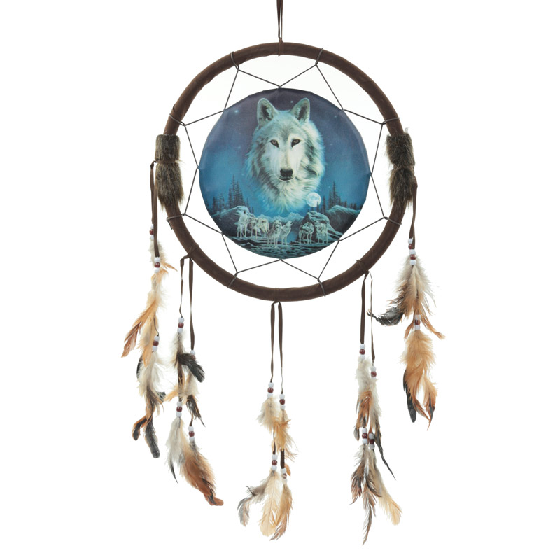 Decorative Wolf Spirit in the Sky 34cm Dreamcatcher