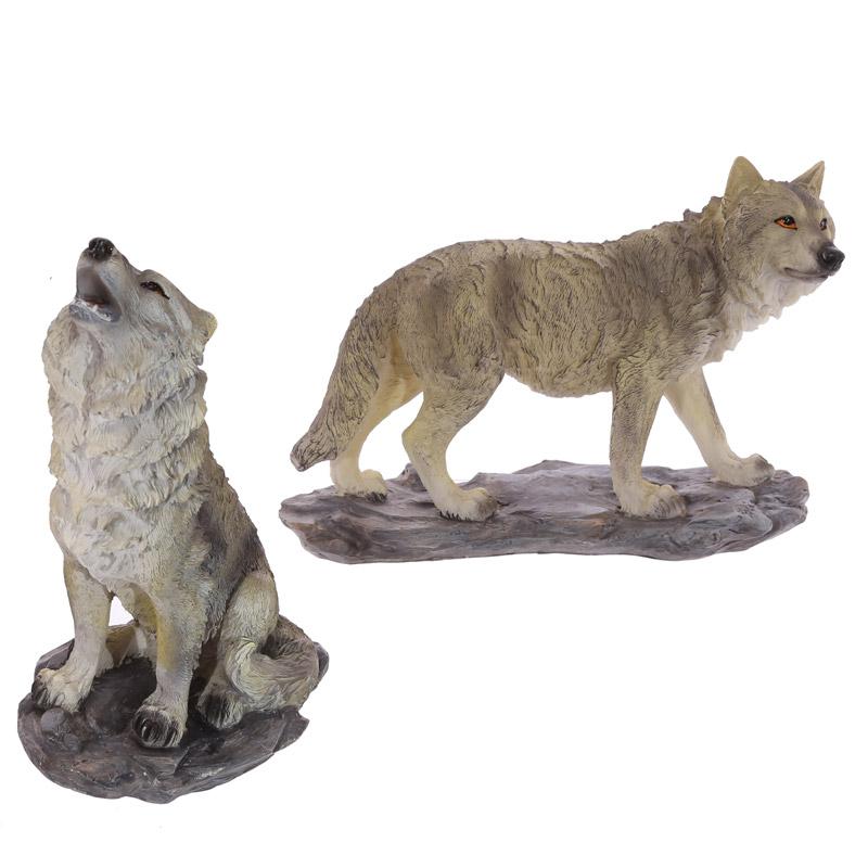 Decorative Wolf Standing on Rocks Figurine