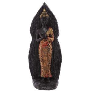 Decorative Wood Effect Back Antique Red Thai Buddha