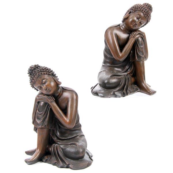 Decorative Wood Effect Buddha Figure Resting on Knee