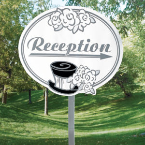 Cardboard Wedding Reception Show The Way SignCardboard Wedding Reception Show The Way Sign