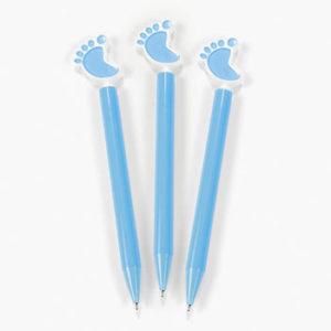 6 x Plastic Blue Baby Feet Pens6 x Plastic Blue Baby Feet Pens