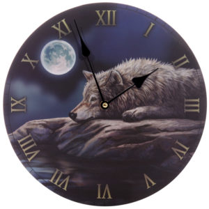 Fantasy Quiet Night of the Wolf Decorative Wall Clock