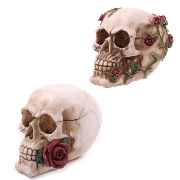 Fantasy Skull Head with Roses Ornament