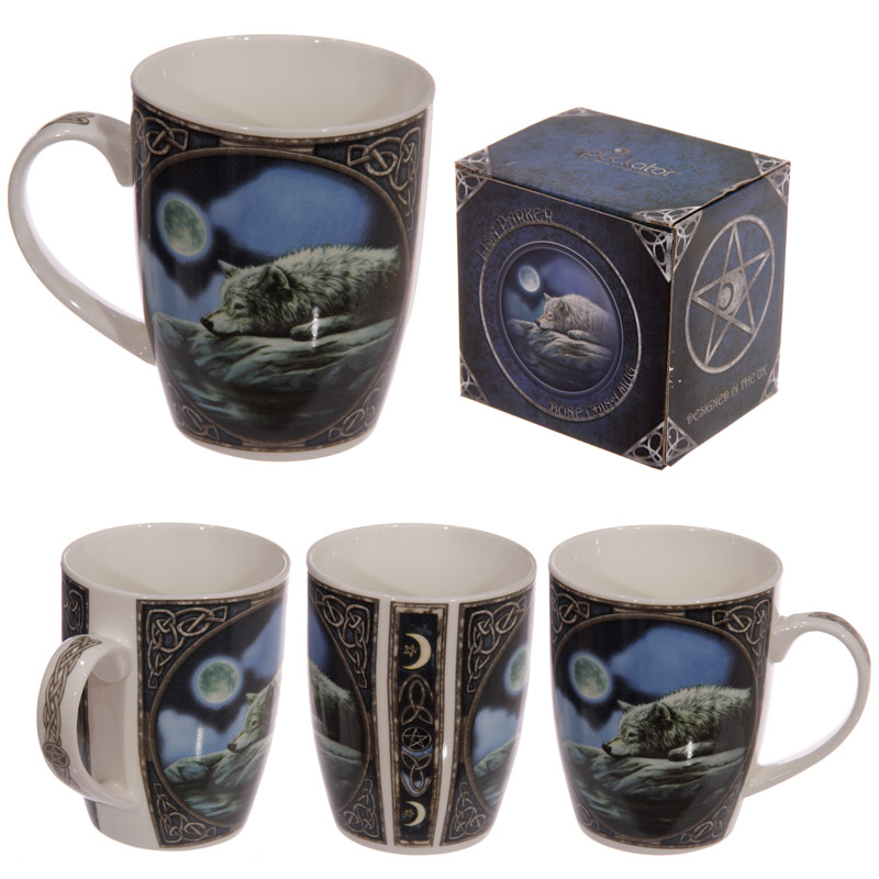 Fantasy Wolf Lake Design New Bone China Mug